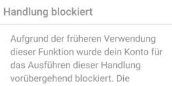 Instagram handlung blockiert
