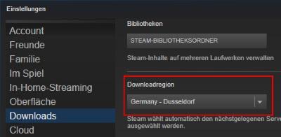 Steam Download Server ändern
