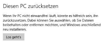 Windows 10 Zurücksetzen Problem