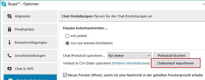 Skype Chatverlauf exportieren und speichern