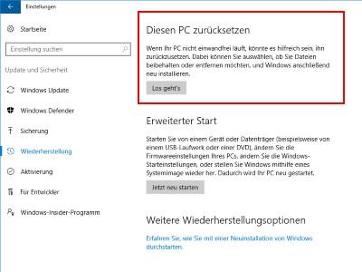 Windows 10 Problem Beim Zurücksetzen Auf Originaleinstellung